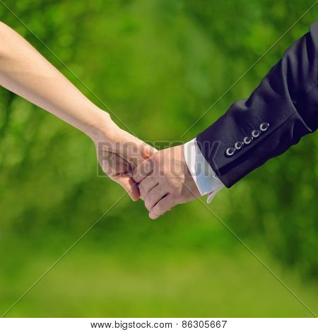 Wedding, Love And Relationships Concept - Sweet Couple, Hands Bride And Groom, Fresh Summer Photo