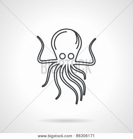 Black line vector icon for octopus