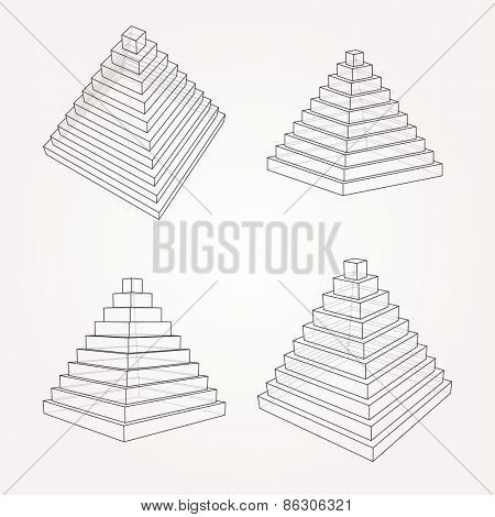 vector step pyramid in four positions