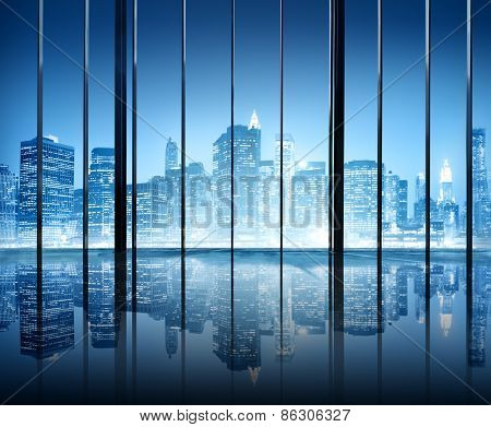 Office Cityscape Buildings Contemporary Interior Room Modern Concept