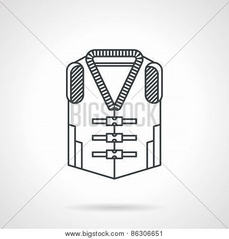 Life vest black line vector icon
