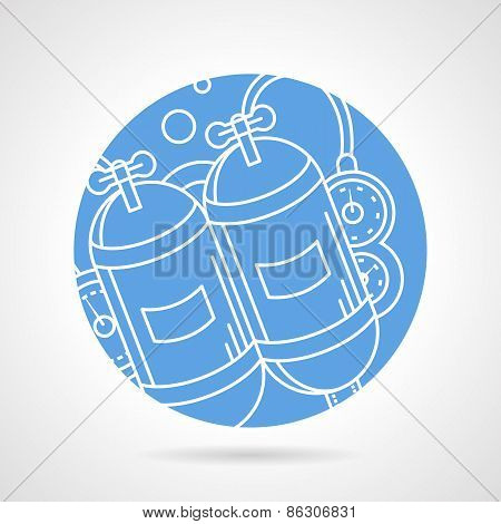 Round vector icon for aqualung