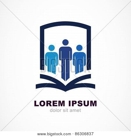 Vector Logo Design Template. Shield, People Silhouette And Open Book Symbol. Education, Study Concep