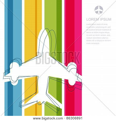 Flight Airplane Silhouette And Rainbow Stripes Background With Place For Text. Travel Concept. Abstr