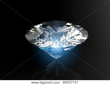brilliant cut diamond perspective on black background