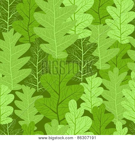 Green leaves repeating background. Seamless pattern.