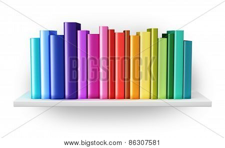 Bookshelf with color hardcover books