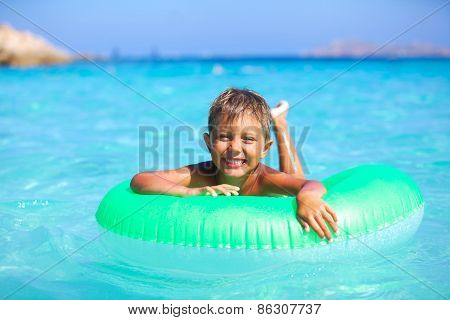 Boy playing in the sea
