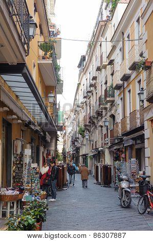 Campania, Italy - January 19, 2010: Typical Street At Sorrento