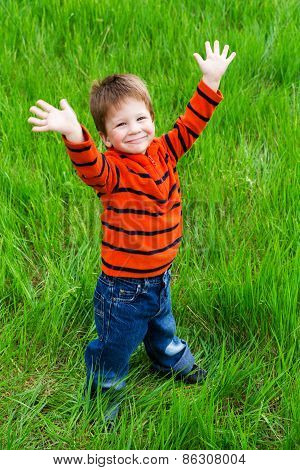 Little boy on meadow with raised hands