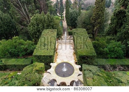 Tivoli, Italy - January 28, 2010: Villa D'este In Winter