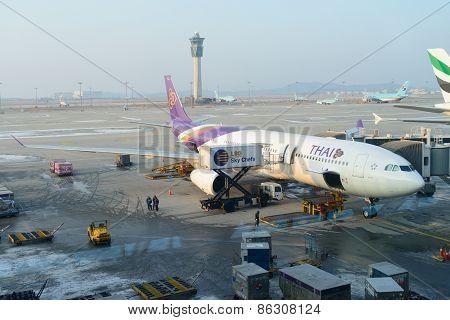 Incheon, Korea - December 28, 2012: Thai Air Flight