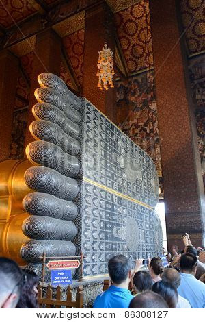 Bangkok, Thailand - December 29, 2012: Foot Of Reclining Buddha In Wat Pho