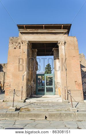 Naples, Italy - January 19, 2010: Entrance Of Ruined Villa In Pompeii