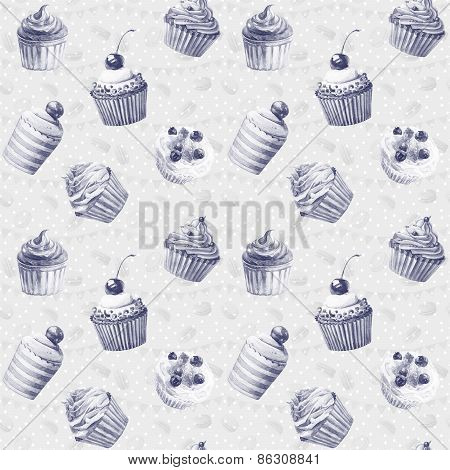 Seamless pattern with macaroons, cupcakes.