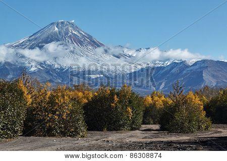 Autumn view of active Avachinskiy Volcano on Kamchatka, Russia