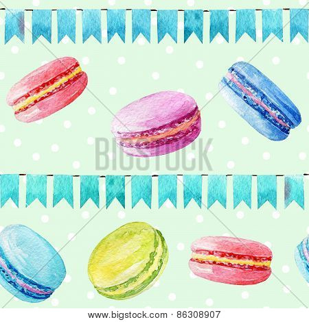 Seamless pattern with macaroons.
