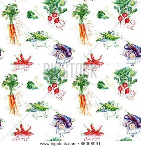 Seamless pattern with carrot, chili pepper, broccoli, radish, eggplant, peas.