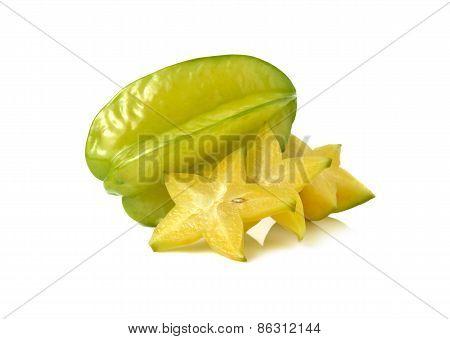 Ripe Star Fruit On White Background