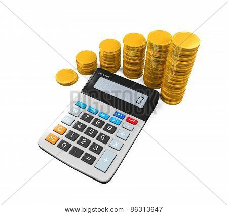 Calculator and Gold Coins