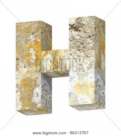 One letter from old concrete alphabet set isolated over white. Computer generated 3D photo rendering.