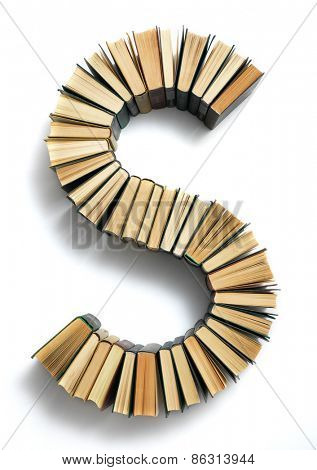 Letter S formed from the page ends of closed vintage hardcover books standing on a white background from a set or series of numbers