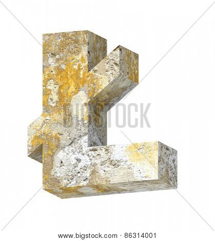 Pound sign from old concrete alphabet set isolated over white. Computer generated 3D photo rendering.