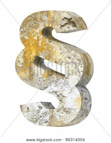 Paragraph sign from old concrete alphabet set isolated over white. Computer generated 3D photo rendering.