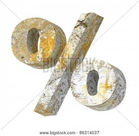 Percent sign from old concrete alphabet set isolated over white. Computer generated 3D photo rendering.