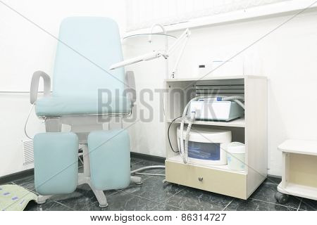 Interior of a pedicure room. Pedicure chair