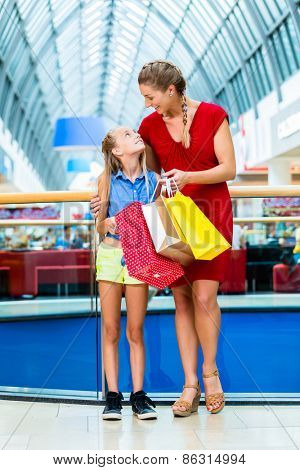 Mom with daughter shopping in mall or store