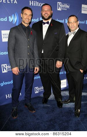LOS ANGELES - MAR 21:  Murray Bartlett, Daniel Franzese, Guest at the 26th Annual GLAAD Media Awards at the Beverly Hilton Hotel on March 21, 2015 in Beverly Hills, CA