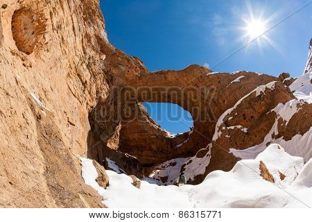 North africa geological wonder: the great hole of Akhiam in winter season. Agoudal, Morocco, Africa.
