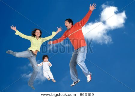 happy family in the air