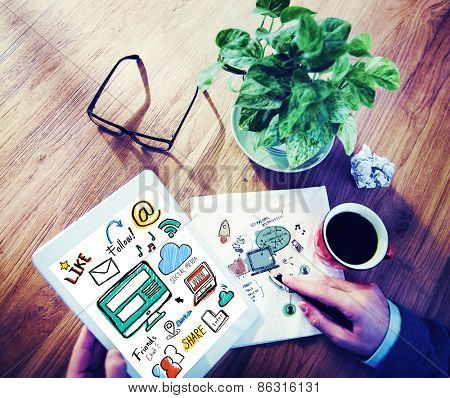 Working Digital Tablet Global Communications Social Media Concept