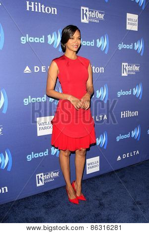 LOS ANGELES - MAR 21:  Zoe Saldana at the 26th Annual GLAAD Media Awards at the Beverly Hilton Hotel on March 21, 2015 in Beverly Hills, CA