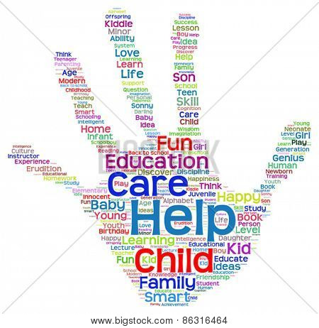 Vector concept or conceptual child education abstract hand print