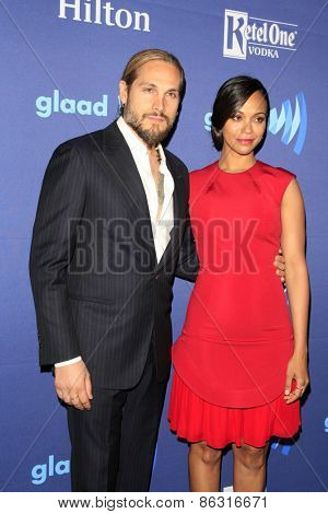 LOS ANGELES - MAR 21:  Marco Perego, Zoe Saldana at the 26th Annual GLAAD Media Awards at the Beverly Hilton Hotel on March 21, 2015 in Beverly Hills, CA