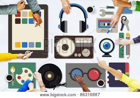 Media Movies Radio Music Tools Concept