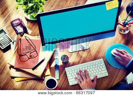 Businessman Working Brainstorming Planning Copy Space Concept