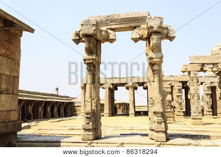 The unfinished Kalyana mandapa in Veerabhadra temple captured at Lepakshi