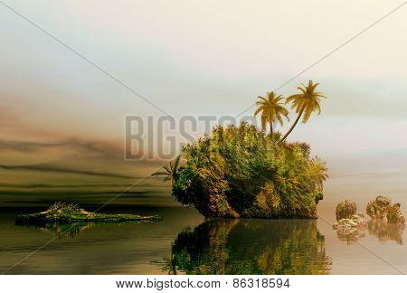 3D illustration of tropical island at sunrise