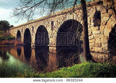 Ancient Roman bridge in Alter do Chao, Portugal