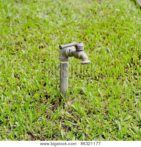 Water Tap With Rubber Tube On Park
