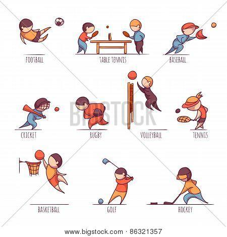 Vector set of sportsmens