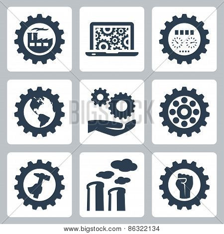 Industrial Related Vector Icons Set