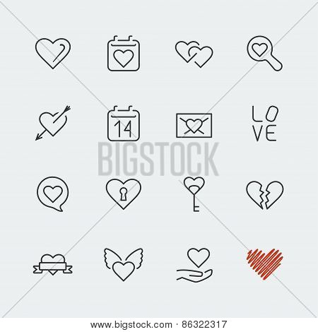 Love Related Vector Icons Set, Thin Line