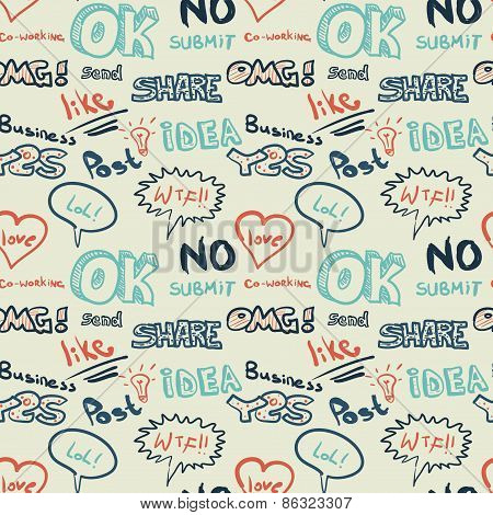 Textile Seamless Pattern On The Topic Of Internet Communication