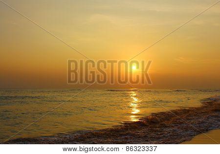 Beautiful sunset on the beach Koggala