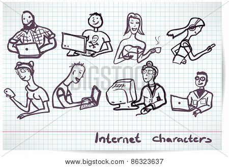 Set Of Characters On The Theme Of Internet Technology And Devices In The Style B/w Sketch